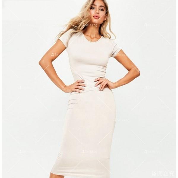 Изчистена семпла рокля с къс ръкав и дължина до коляното FZ17 6