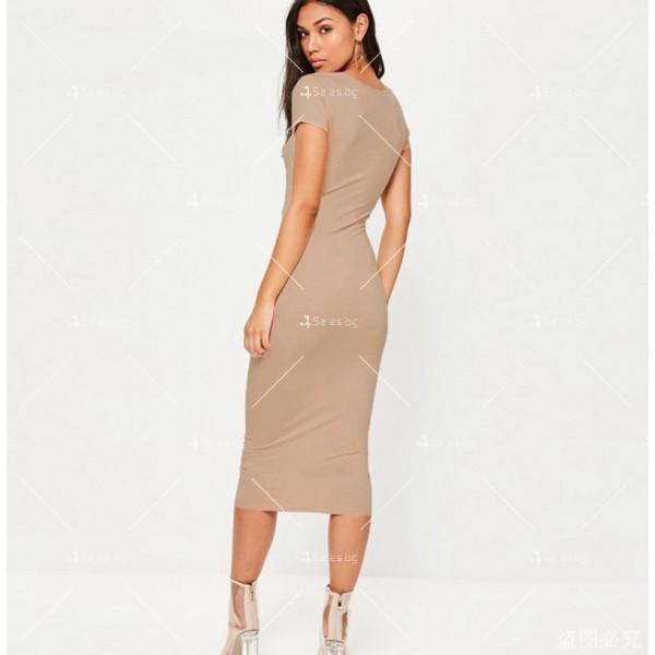 Изчистена семпла рокля с къс ръкав и дължина до коляното FZ17 11