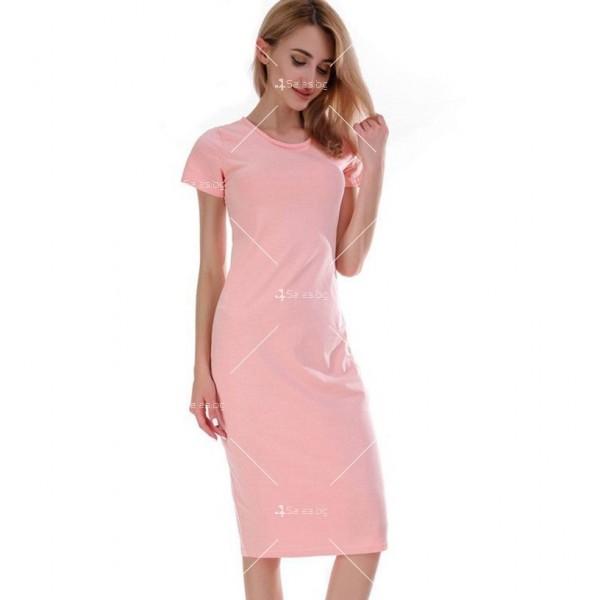 Изчистена семпла рокля с къс ръкав и дължина до коляното FZ17 13