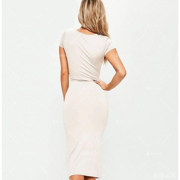Изчистена семпла рокля с къс ръкав и дължина до коляното FZ17 7