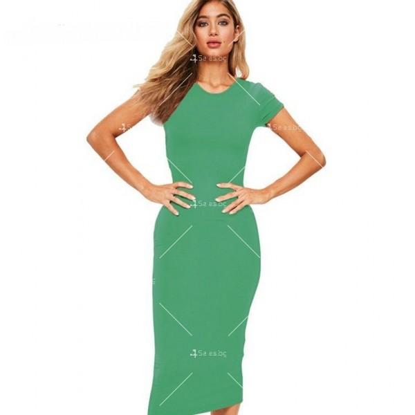 Изчистена семпла рокля с къс ръкав и дължина до коляното FZ17 8
