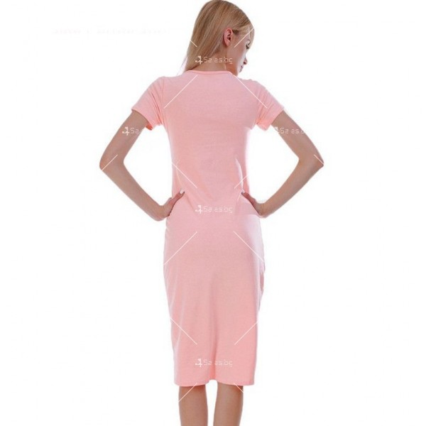 Изчистена семпла рокля с къс ръкав и дължина до коляното FZ17 14