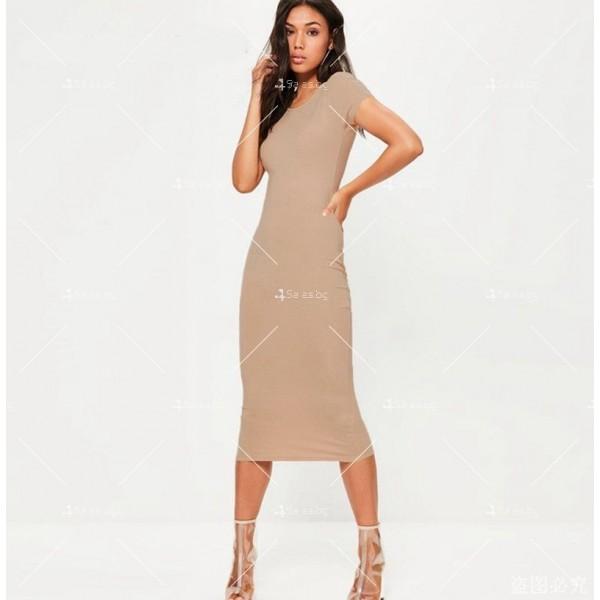 Изчистена семпла рокля с къс ръкав и дължина до коляното FZ17 10