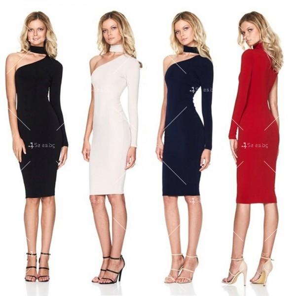 Елегантна рокля до коляното, голо рамо, един дълъг ръкав и чокър на врата FZ19 1