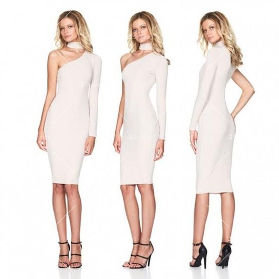Елегантна рокля до коляното, голо рамо, един дълъг ръкав и чокър на врата FZ19