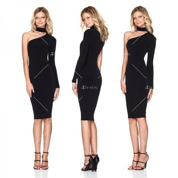 Елегантна рокля до коляното, голо рамо, един дълъг ръкав и чокър на врата FZ19 3