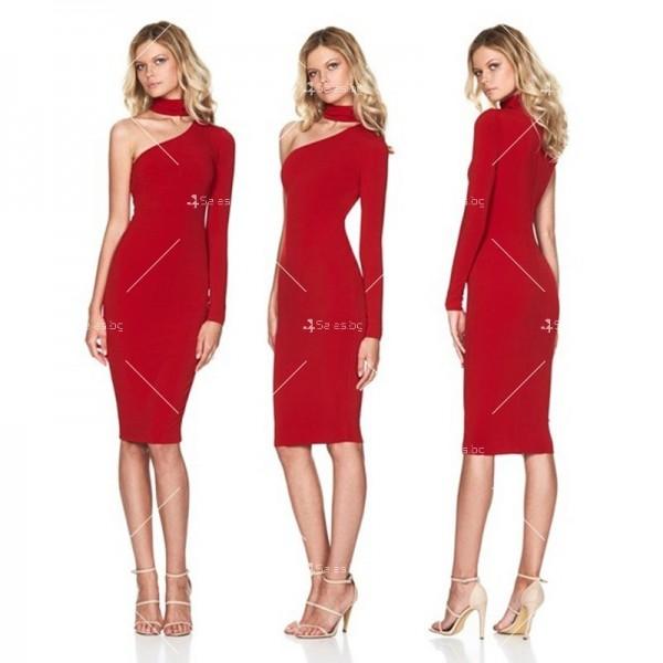 Елегантна рокля до коляното, голо рамо, един дълъг ръкав и чокър на врата FZ19 4