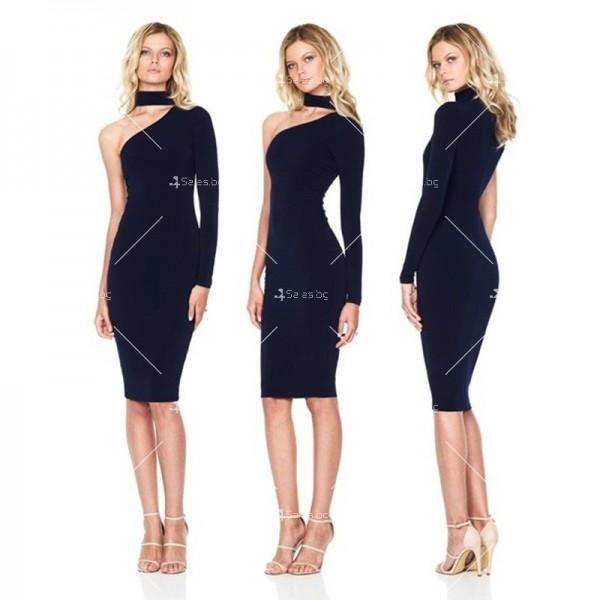 Елегантна рокля до коляното, голо рамо, един дълъг ръкав и чокър на врата FZ19 5