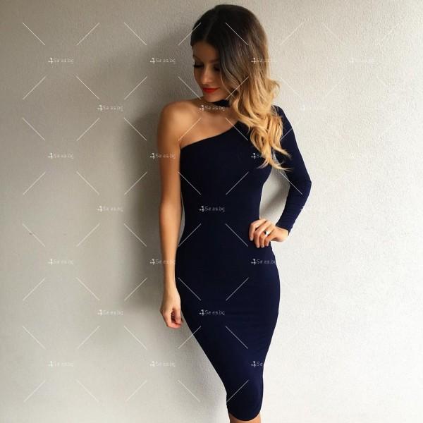 Елегантна рокля до коляното, голо рамо, един дълъг ръкав и чокър на врата FZ19 6
