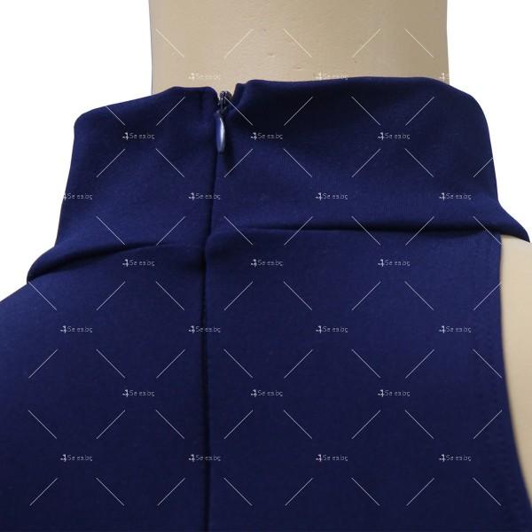 Елегантна рокля до коляното, голо рамо, един дълъг ръкав и чокър на врата FZ19 8