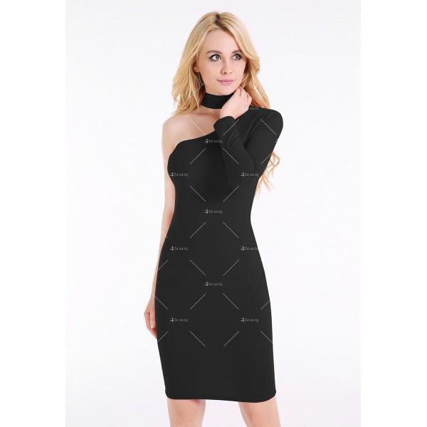 Елегантна рокля до коляното, голо рамо, един дълъг ръкав и чокър на врата FZ19 11