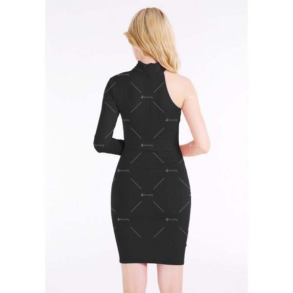 Елегантна рокля до коляното, голо рамо, един дълъг ръкав и чокър на врата FZ19 12