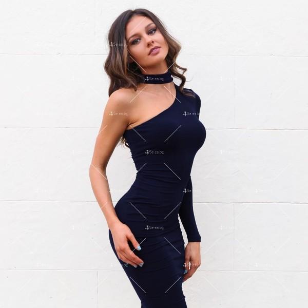 Елегантна рокля до коляното, голо рамо, един дълъг ръкав и чокър на врата FZ19 15