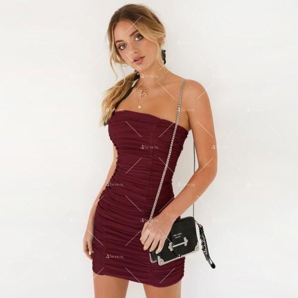 Тясна къса рокля без презрамки тип бюстие с двоен набор отпред FZ22 6