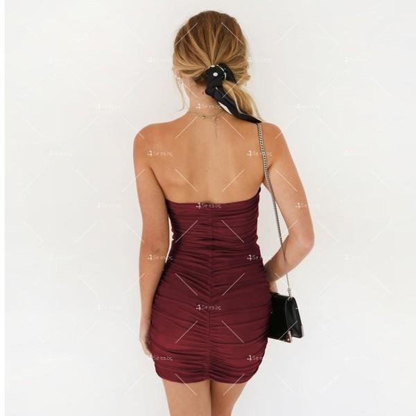 Тясна къса рокля без презрамки тип бюстие с двоен набор отпред FZ22 7