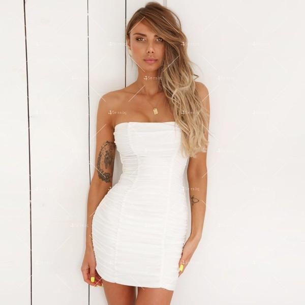 Тясна къса рокля без презрамки тип бюстие с двоен набор отпред FZ22 8