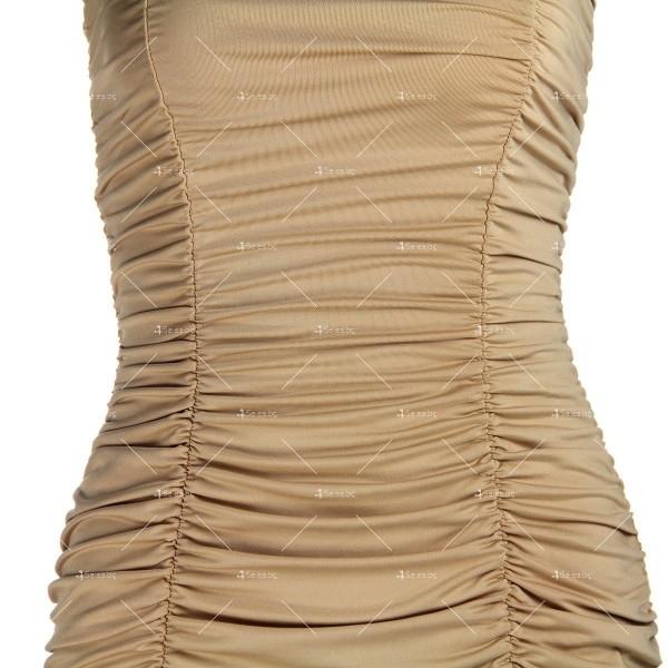Тясна къса рокля без презрамки тип бюстие с двоен набор отпред FZ22 10