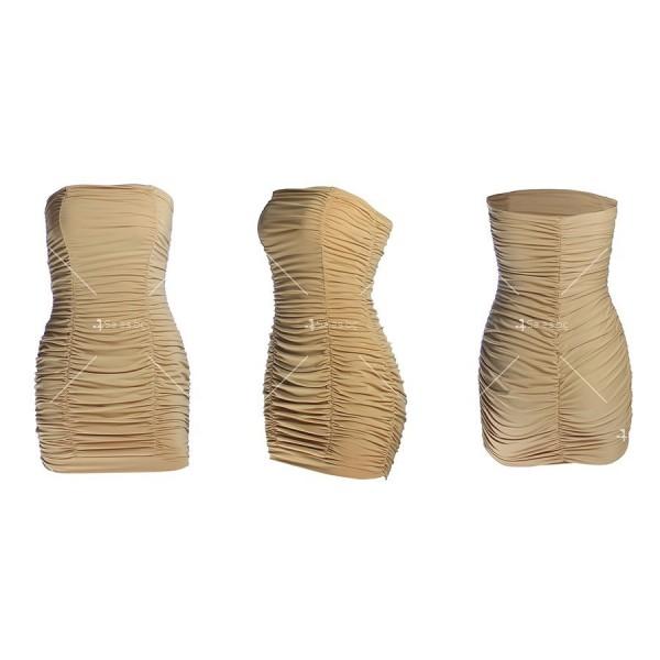 Тясна къса рокля без презрамки тип бюстие с двоен набор отпред FZ22 11