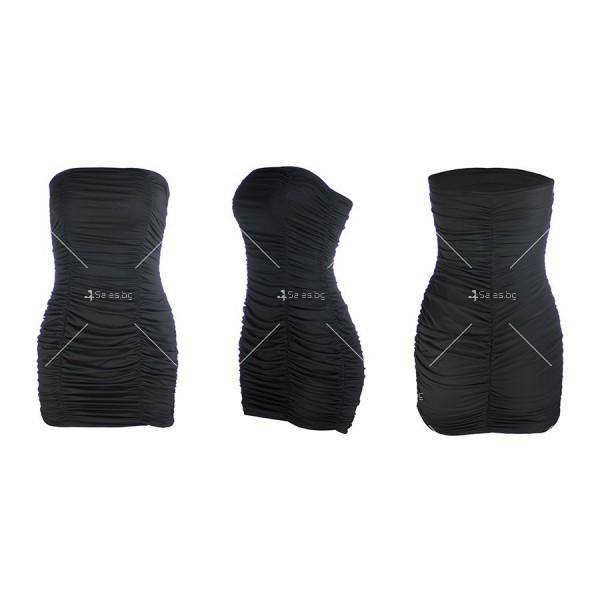 Тясна къса рокля без презрамки тип бюстие с двоен набор отпред FZ22 13