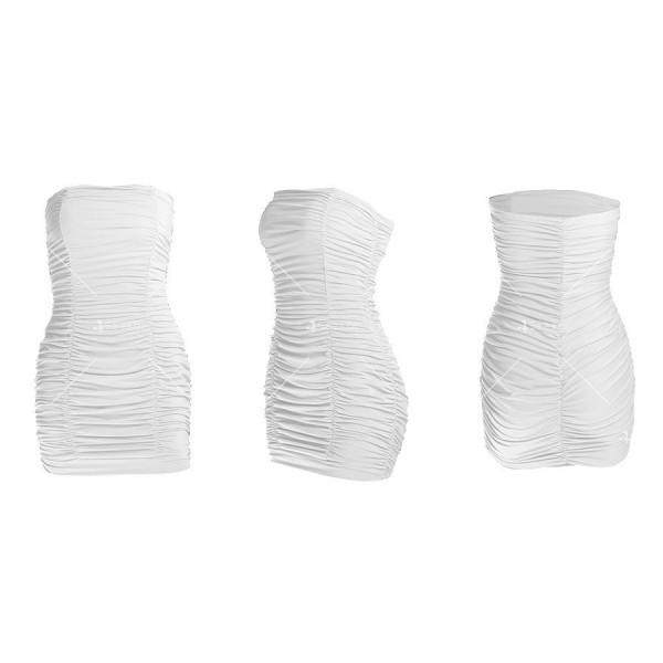 Тясна къса рокля без презрамки тип бюстие с двоен набор отпред FZ22 14