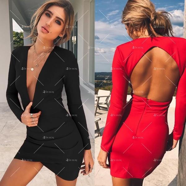 Мини дамска рокля с дълъг ръкав, дълбоко V-образно деколте и отворен гръб FZ23 1