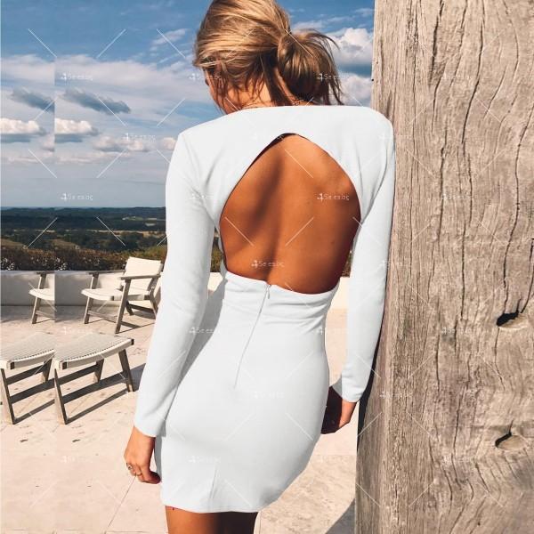 Мини дамска рокля с дълъг ръкав, дълбоко V-образно деколте и отворен гръб FZ23 6