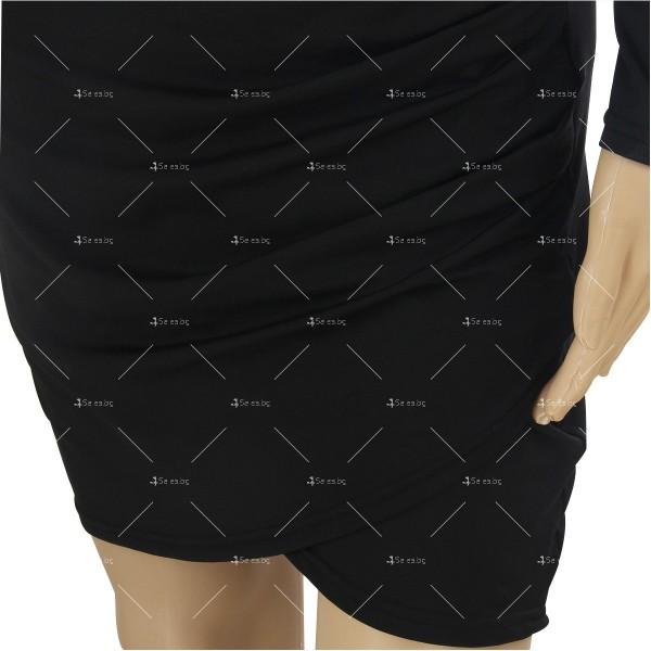 Мини дамска рокля с дълъг ръкав, дълбоко V-образно деколте и отворен гръб FZ23 10
