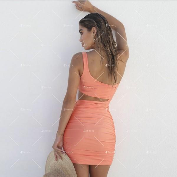 Къса рокля с една презрамка, А-симетрично изрязване отпред и отзад FZ25 5