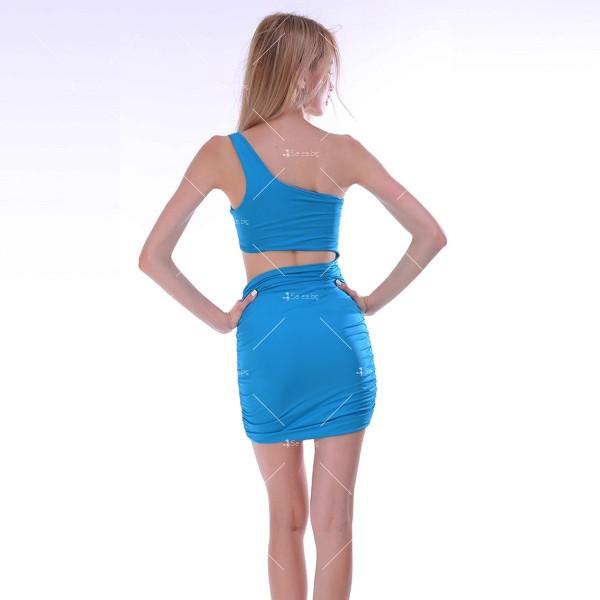 Къса рокля с една презрамка, А-симетрично изрязване отпред и отзад FZ25 7