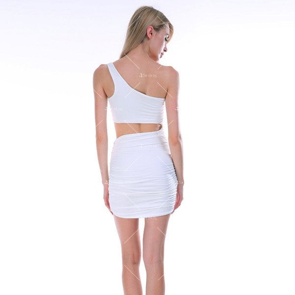 Къса рокля с една презрамка, А-симетрично изрязване отпред и отзад FZ25 9