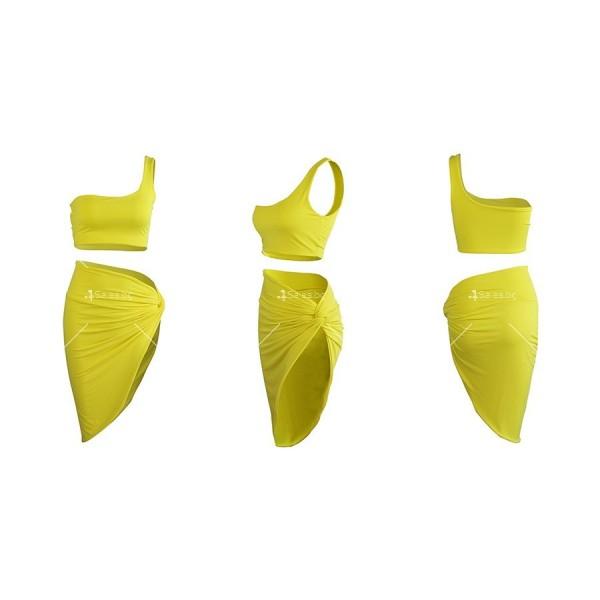 Комплект къс топ с една презрамка и А-симетрична пола с открито бедро FZ26 11