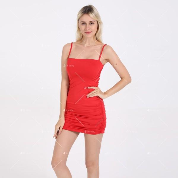 Къса рокля по тялото с тънки презрамки и набор отстрани FZ30 5