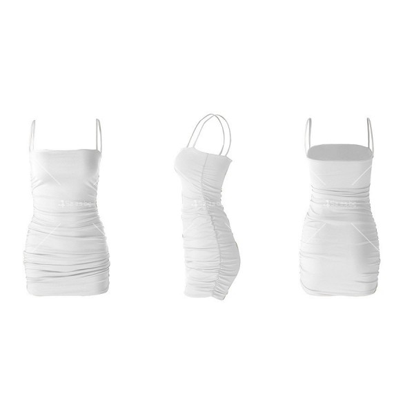 Къса рокля по тялото с тънки презрамки и набор отстрани FZ30 12