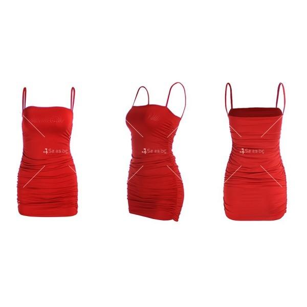 Къса рокля по тялото с тънки презрамки и набор отстрани FZ30 13