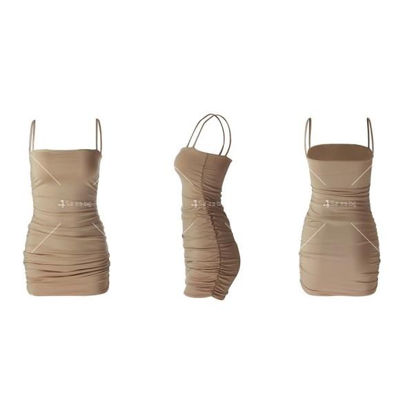 Къса рокля по тялото с тънки презрамки и набор отстрани FZ30 14