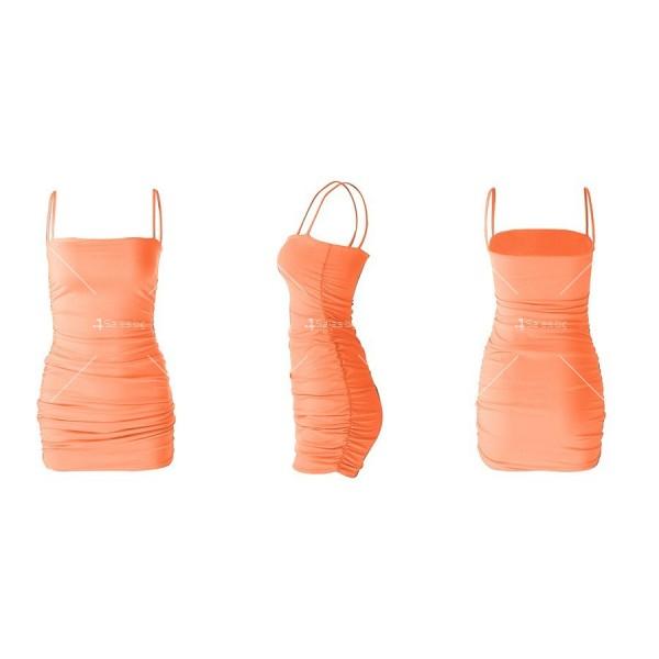 Къса рокля по тялото с тънки презрамки и набор отстрани FZ30 17
