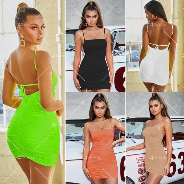 Секси къса рокля с набор, право деколте с тънки презрамки и гол гръб FZ33 1