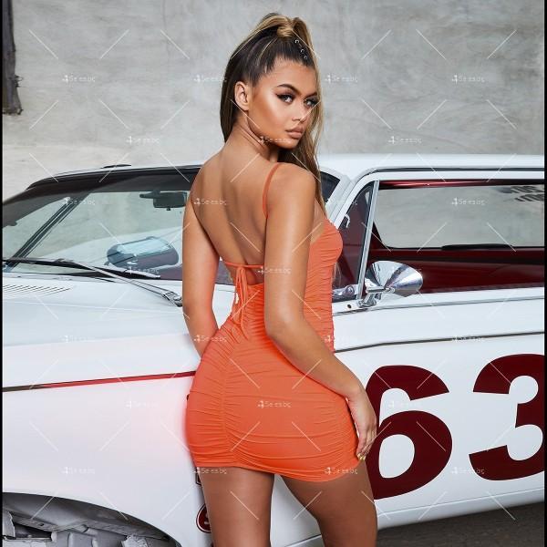 Секси къса рокля с набор, право деколте с тънки презрамки и гол гръб FZ33 11