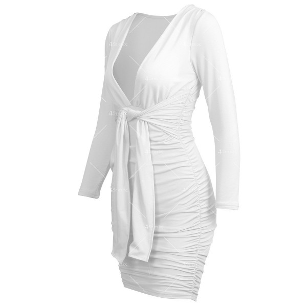 Секси къса рокля с дълбоко V-образно деколте и дълъг ръкав FZ35 11