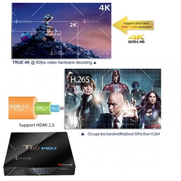 ТВ бокс T10 PRO Amlogic S905X2 с Android 8.1, LED дисплей, 4K, 4GB 11