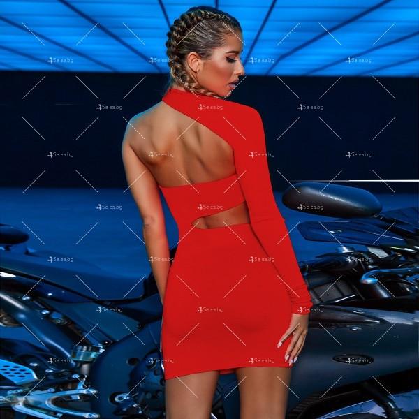 Изрязана секси рокля с една презрамка и един дълъг ръкав FZ37 9