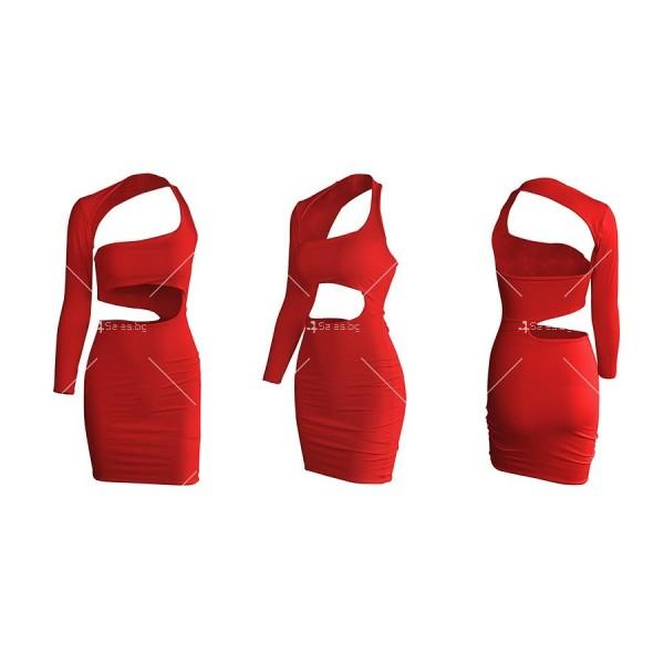 Изрязана секси рокля с една презрамка и един дълъг ръкав FZ37 13