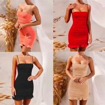 Кокетна къса рокля с право деколте, тънки презрамки и къдрици в долната част FZ42