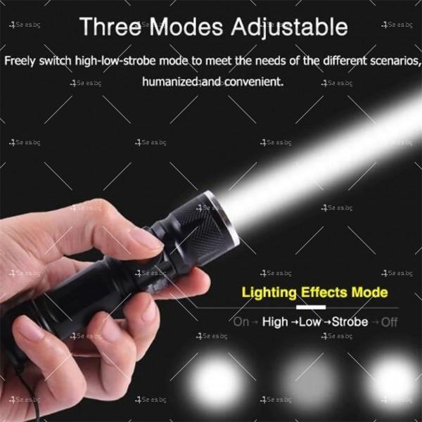 Джобно LED фенерче с USB и 3 режима на работа 3