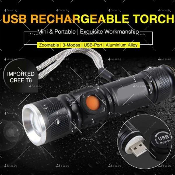 Джобно LED фенерче с USB и 3 режима на работа 5