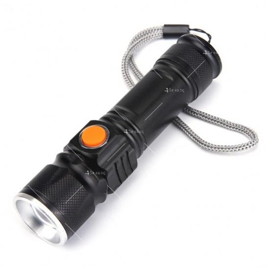 Джобно LED фенерче с USB и 3 режима на работа