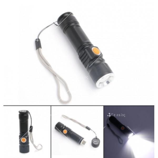 Джобно LED фенерче с USB и 3 режима на работа 8