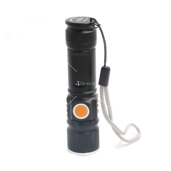 Джобно LED фенерче с USB и 3 режима на работа 11