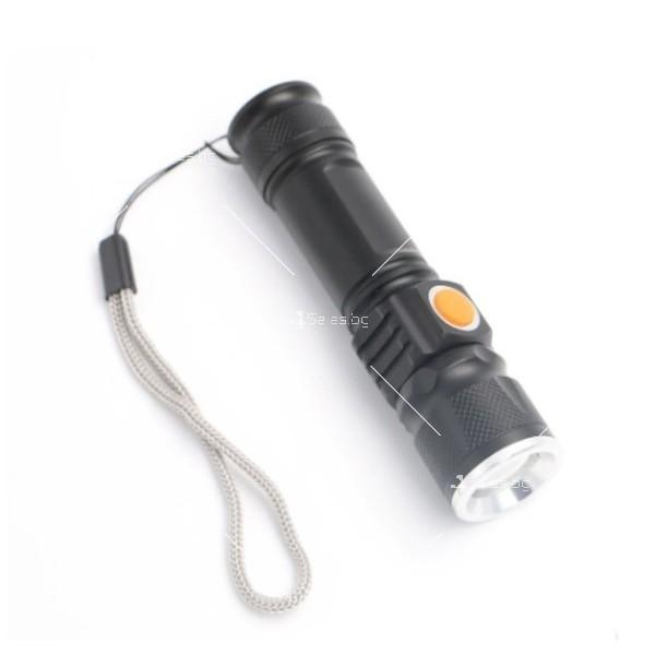 Джобно LED фенерче с USB и 3 режима на работа 12