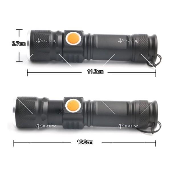 Джобно LED фенерче с USB и 3 режима на работа 14